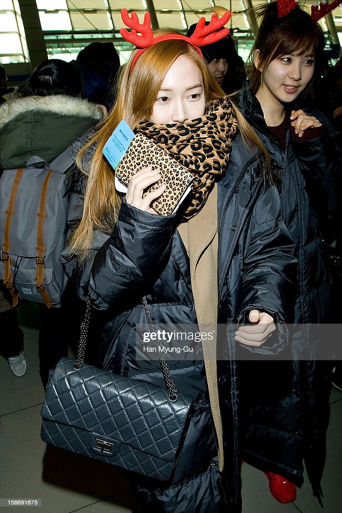 Jessica of South Korean girl group Girls' Generation is seen at Incheon International Airport on December 24, 2012 in Incheon, South Korea.