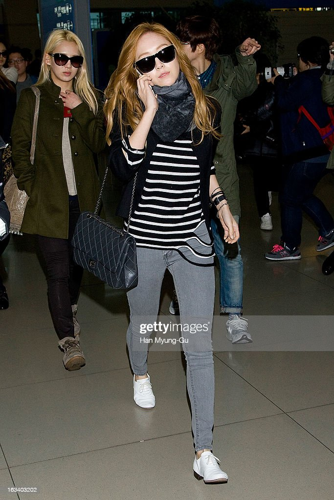Jessica of South Korean girl group Girls' Generation is seen on departure at Incheon International Airport on March 8, 2013 in Incheon, South Korea.