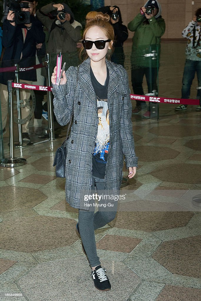 Jessica of South Korean girl group Girls' Generation is seen on departure to Japan at Gimpo International Airport on April 3, 2013 in Seoul, South Korea.