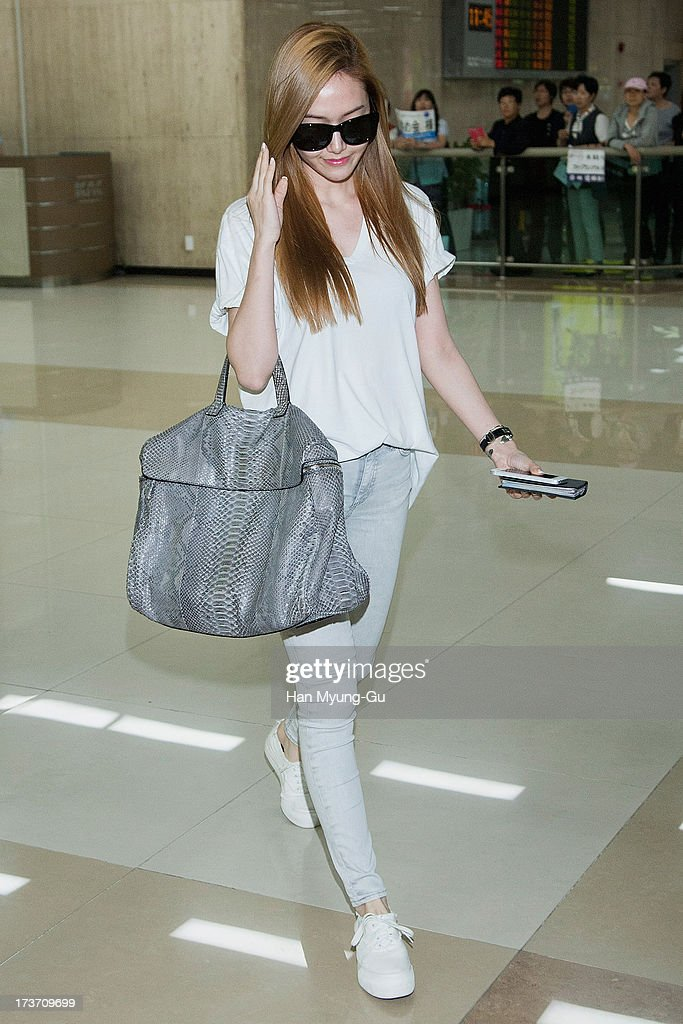 Jessica of South Korean girl group Girls' Generation is seen upon arrival at Gimpo International Airport on July 17, 2013 in Seoul, South Korea.