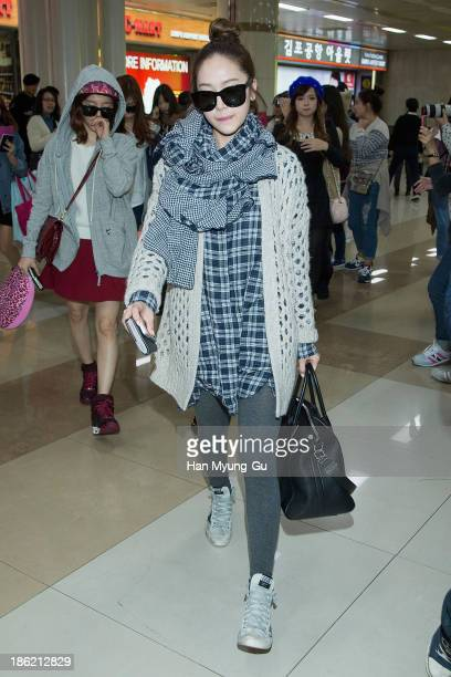 Jessica of South Korean girl group Girls' Generation is seen upon arrival at the Gimpo Airport on October 28 2013 in Seoul South Korea