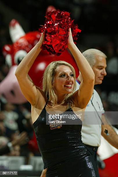 Jessica of the Chicago Luvabulls dance team performs during the game between the San Antonio Spurs and the Chicago Bulls at the United Center...
