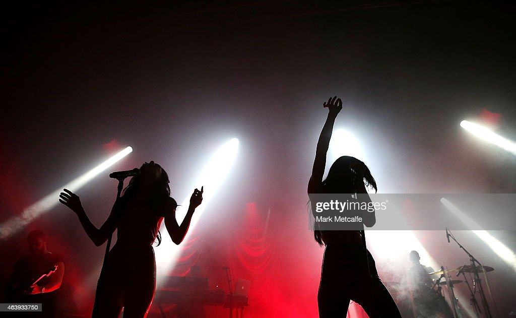 Jessica Origliasso and Lisa Origliasso of The Veronicas perform their 'Sanctified' tour live in Sydney at Enmore Theatre on February 20 2015 in...