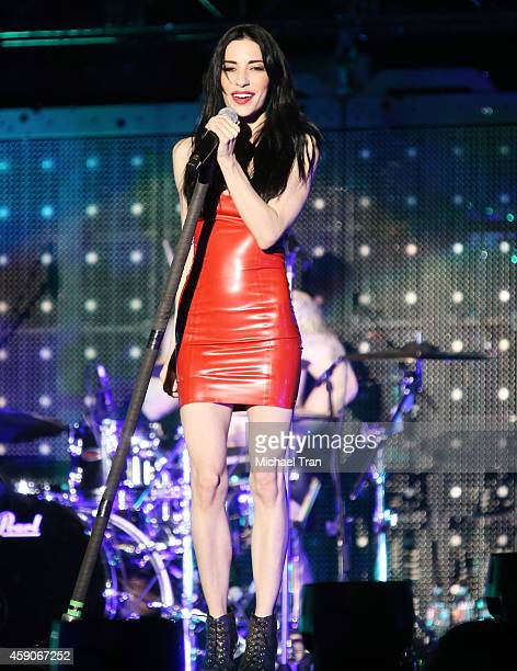 Jessica Origliasso of The Veronicas performs onstage during the 5 Seconds of Summer tour held at The Forum on November 15 2014 in Inglewood California
