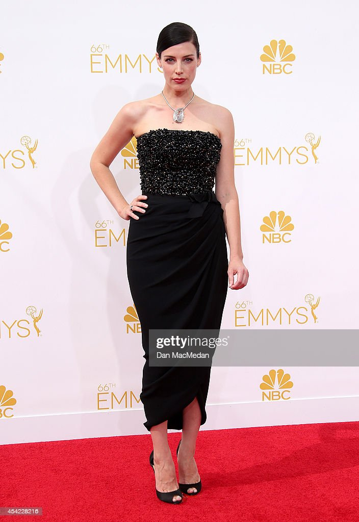 Jessica Pare arrives at the 66th Annual Primetime Emmy Awards at Nokia Theatre L.A. Live on August 25, 2014 in Los Angeles, California.
