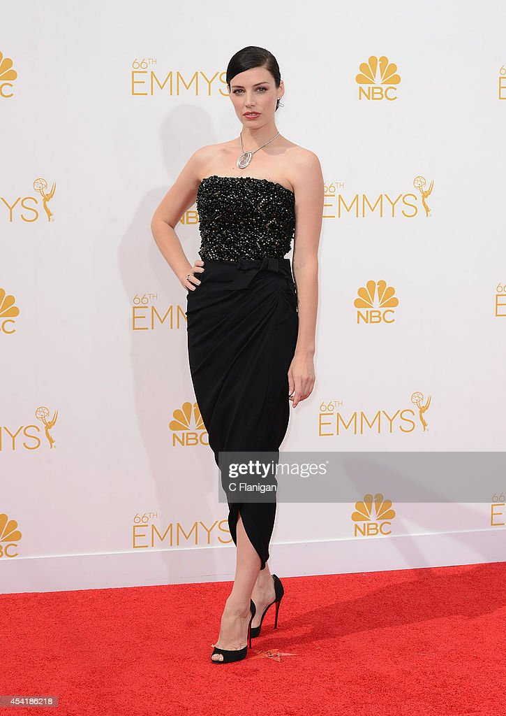 Jessica Pare arrives to the 66th Annual Primetime Emmy Awards at Nokia Theatre L.A. Live on August 25, 2014 in Los Angeles, California.