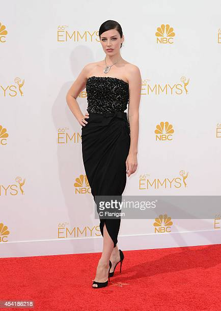 Jessica Pare arrives to the 66th Annual Primetime Emmy Awards at Nokia Theatre LA Live on August 25 2014 in Los Angeles California