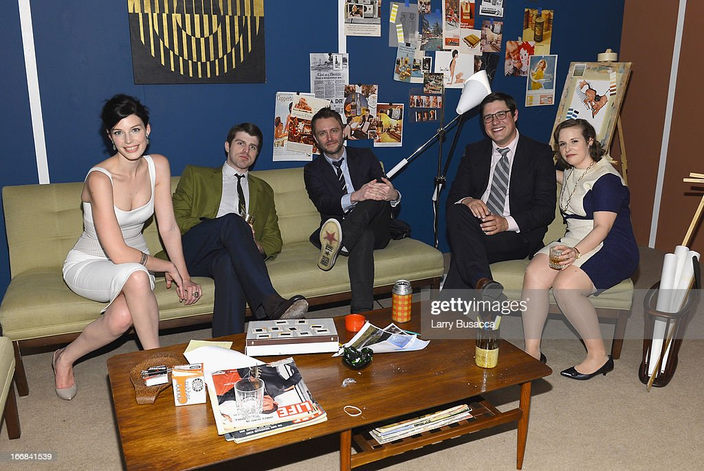 Jessica Pare (L), <a gi-track='captionPersonalityLinkClicked' href=/galleries/search?phrase=Chris+Hardwick&family=editorial&specificpeople=960855 ng-click='$event.stopPropagation()'>Chris Hardwick</a> (C) and <a gi-track='captionPersonalityLinkClicked' href=/galleries/search?phrase=Rich+Sommer&family=editorial&specificpeople=4406963 ng-click='$event.stopPropagation()'>Rich Sommer</a> (2nd from R) pose at the 'Mad Men' display attends the AMC Upfront 2013 at the 69th Regiment Armory on April 17, 2013 in New York City.