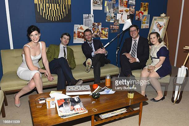 Jessica Pare Chris Hardwick and Rich Sommer pose at the 'Mad Men' display attends the AMC Upfront 2013 at the 69th Regiment Armory on April 17 2013...