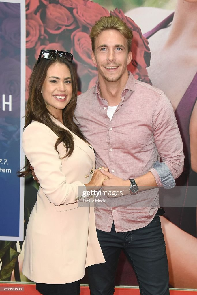 Jessica Paszka and her boyfriend David Friedrich during the 'Die Bachelorette' Jessica Paszka Autograph Session at Europa Passage on July 27, 2017 in Hamburg, Germany.