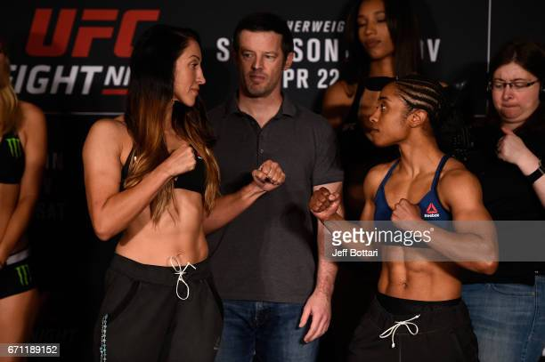 Jessica Penne and Danielle Taylor face off during the UFC Fight Night weighin at the Sheraton Music City Hotel on April 21 2017 in Nashville Tennessee