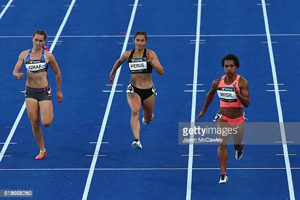 Jessica Peris of the Northern Territory competes in the womens 100m semi final during the Australian Athletics Championships at Sydney Olympic Park...