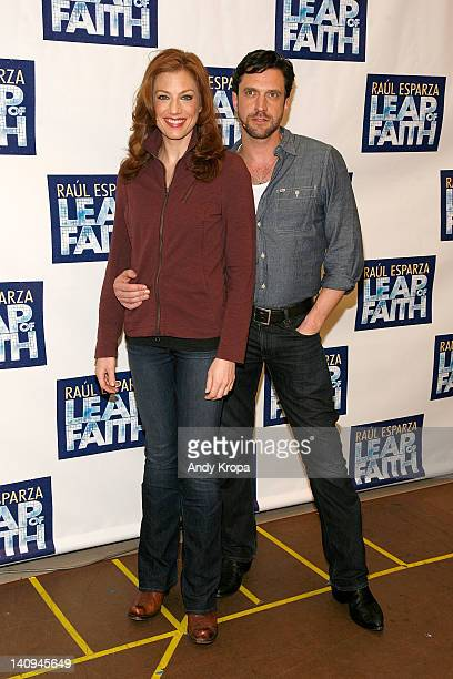 Jessica Phillips and Raul Esparza attend Broadway's 'Leap Of Faith' sneak preview performance at The New 42nd Street Studios on March 8 2012 in New...