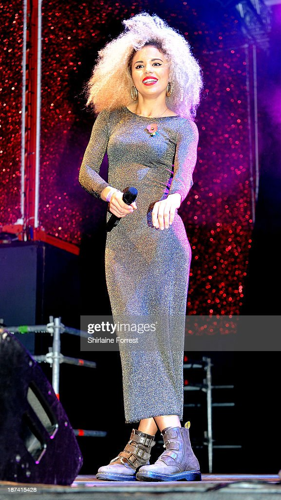 Jessica Plummer of Neon Jungle onstage at the switch on of the Manchester Christmas lights at Albert Square on November 8, 2013 in Manchester, England.