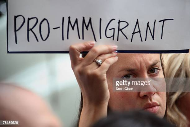 Jessica Pupovac protests the deportation of Elvirra Arellano outside the Immigration and Custom Enforcement offices August 20 2007 in Chicago...