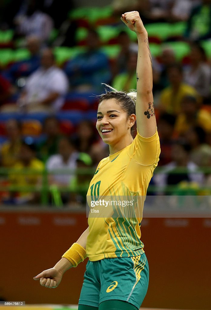 Jessica Quintino of Brazil celebrates in the second half against Montenegro on Day 9 of the Rio 2016 Olympic Games at the Future Arena on August 14...