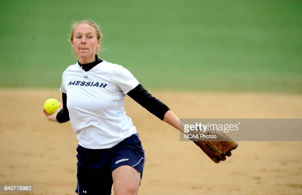 Jessica Rhoads of Messiah College pitches to a Coe College batter during the Division III Women's Softball Championship held at the Montclair State...
