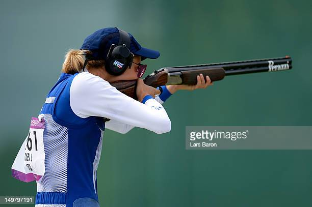 Jessica Rossi of Italy competes during the Women's Trap Shooting Finals on Day 8 of the London 2012 Olympic Game at the Royal Artillery Barracks on...