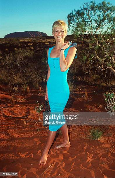12 DECEMBER 1999 Jessica Rowe at the Cats Run Away to the Circus gala evening in the majestic Cats Big Top in the shadows of Uluru Northern Territory...