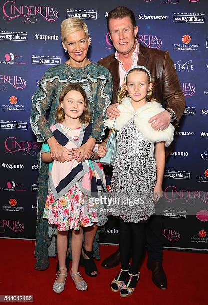 Jessica Rowe Peter Overton and their daughters Giselle Overton and Allegra Overton arrive ahead of opening night of Cinderella at State Theatre on...