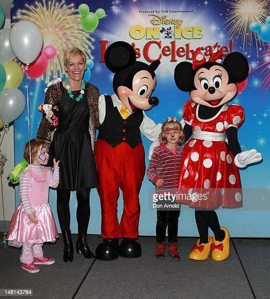 Jessica Rowe poses alongside daughters Allegra and Giselle during the Disney On Ice Premiere at Allphones Arena on July 11 2012 in Sydney Australia