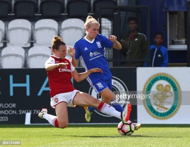 Jessica Samuelsson of Arsenal Women tackles Emma Follis of Birmingham City LFCduring Women's Super League 1 match between Arsenal Women FC against...