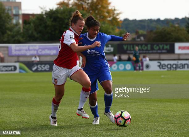 Jessica Samuelsson of Arsenal Women takes Jessica Carter of Birmingham City LFC during Women's Super League 1 match between Arsenal Women against...