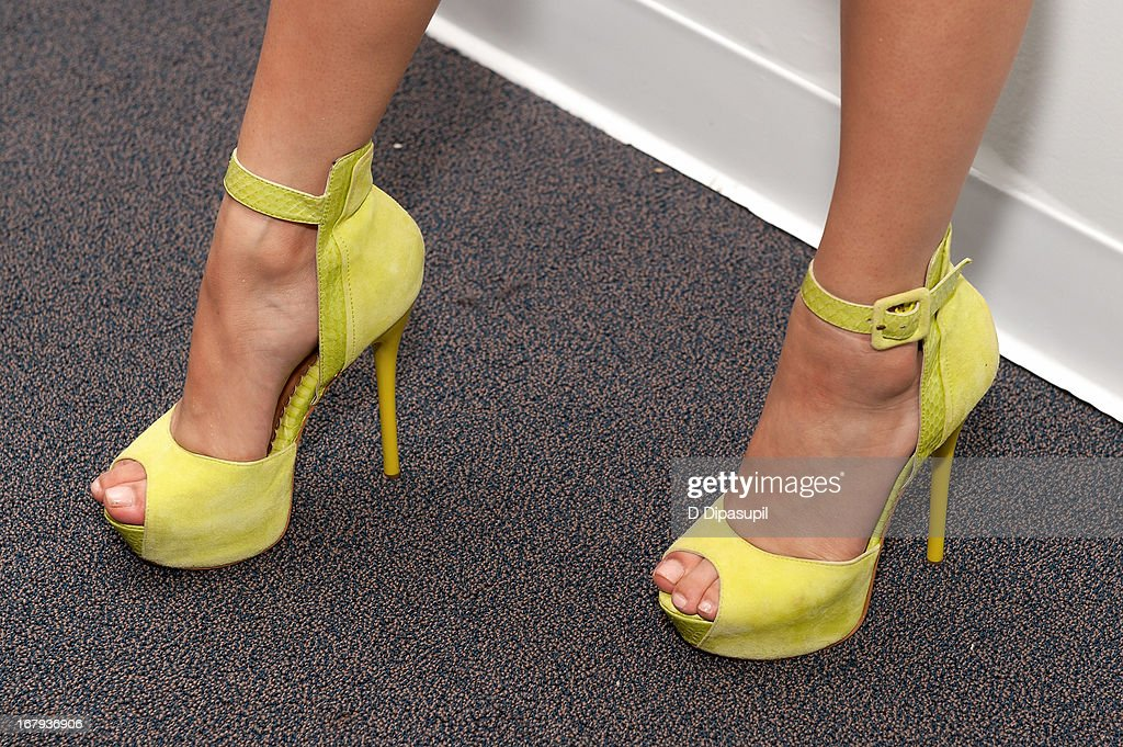 <a gi-track='captionPersonalityLinkClicked' href=/galleries/search?phrase=Jessica+Sanchez&family=editorial&specificpeople=4373400 ng-click='$event.stopPropagation()'>Jessica Sanchez</a> (shoe detail) kicks off Asian American and Pacific Islander Heritage Month during her visit to 'U&A' at Music Choice on May 2, 2013 in New York City.