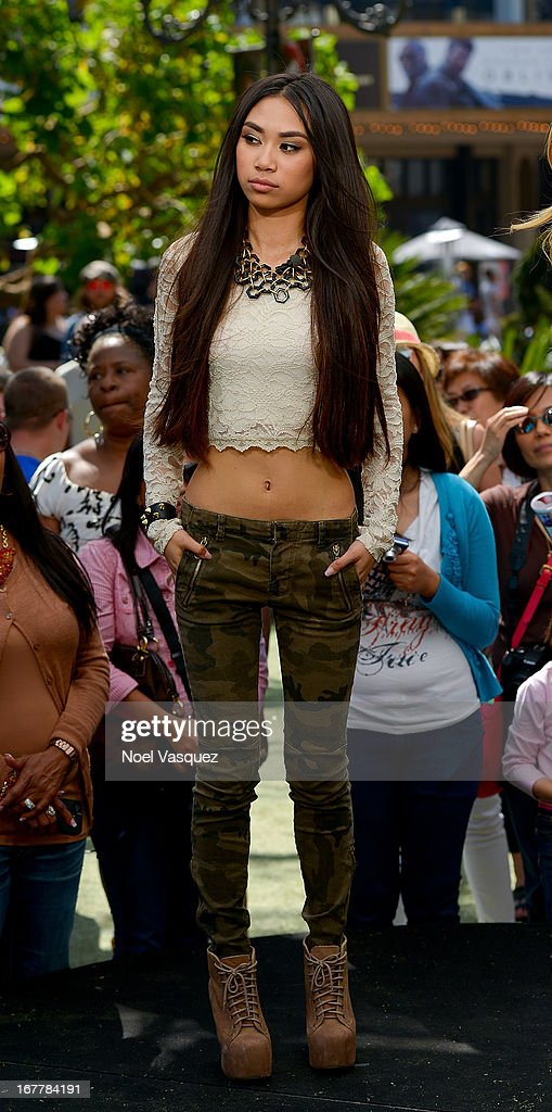 <a gi-track='captionPersonalityLinkClicked' href=/galleries/search?phrase=Jessica+Sanchez&family=editorial&specificpeople=4373400 ng-click='$event.stopPropagation()'>Jessica Sanchez</a> visits 'Extra' at The Grove on April 29, 2013 in Los Angeles, California.