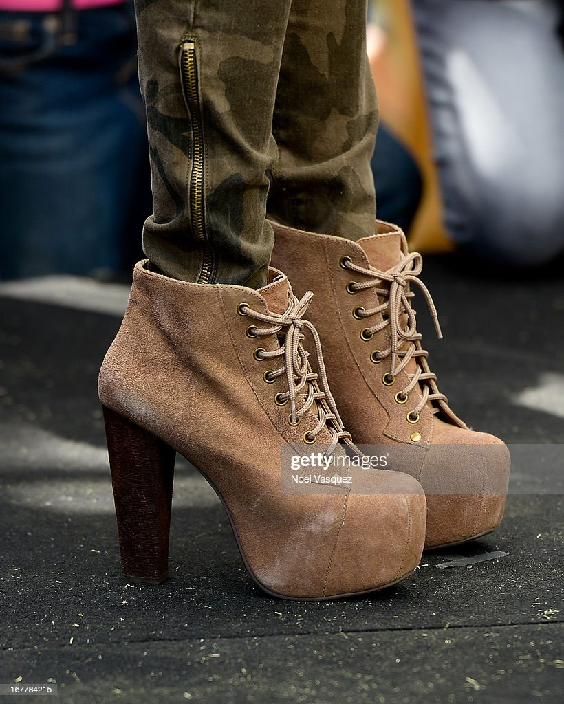 Jessica Sanchez (shoe detail) visits 'Extra' at The Grove on April 29, 2013 in Los Angeles, California.