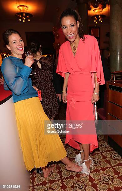 Jessica Schwarz barefoot and Annabelle Mandeng during the Bild 'Place to B' Party at Borchardt during the 66th Berlinale International Film Festival...