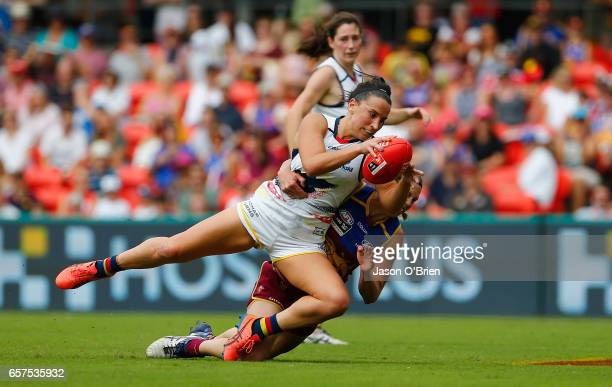 Jessica Sedunary of the Crows in action during the AFL Women's Grand Final between the Brisbane Lions and the Adelaide Crows on March 25 2017 in Gold...