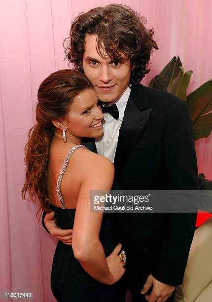Jessica Simpson and John Mayer during 2007 Sony/BMG GRAMMY After Party Inside at The Beverly Hills Hotel in Beverly Hills California United States