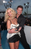 Jessica Simpson and Nick Lachey during 2005 MTV Video Music Awards MTV ShowBox at American Airlines Arena in Miami Florida United States