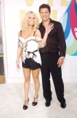 Jessica Simpson and Nick Lachey during 2005 MTV Video Music Awards Arrivals at American Airlines Arena in Miami Florida United States