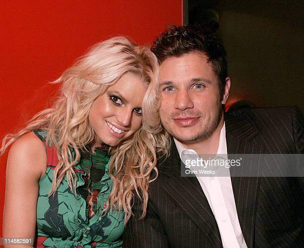 Jessica Simpson and Nick Lachey during Genetic Denim Launch Party Sponsored by Svedka Inside at LAX in Los Angeles California United States