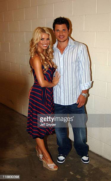 Jessica Simpson and Nick Lachey during Jessica Simpson and Nick Lachey PreGame Performance at FedEx Field at FedEx Field in Landover Maryland United...