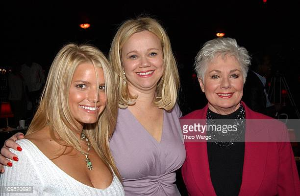 Jessica Simpson Caroline Rhea and Shirley Jones during Celebrity Panel Judge Delta Airlines 'Song' Talent Competition at Studio 54 in New York City...