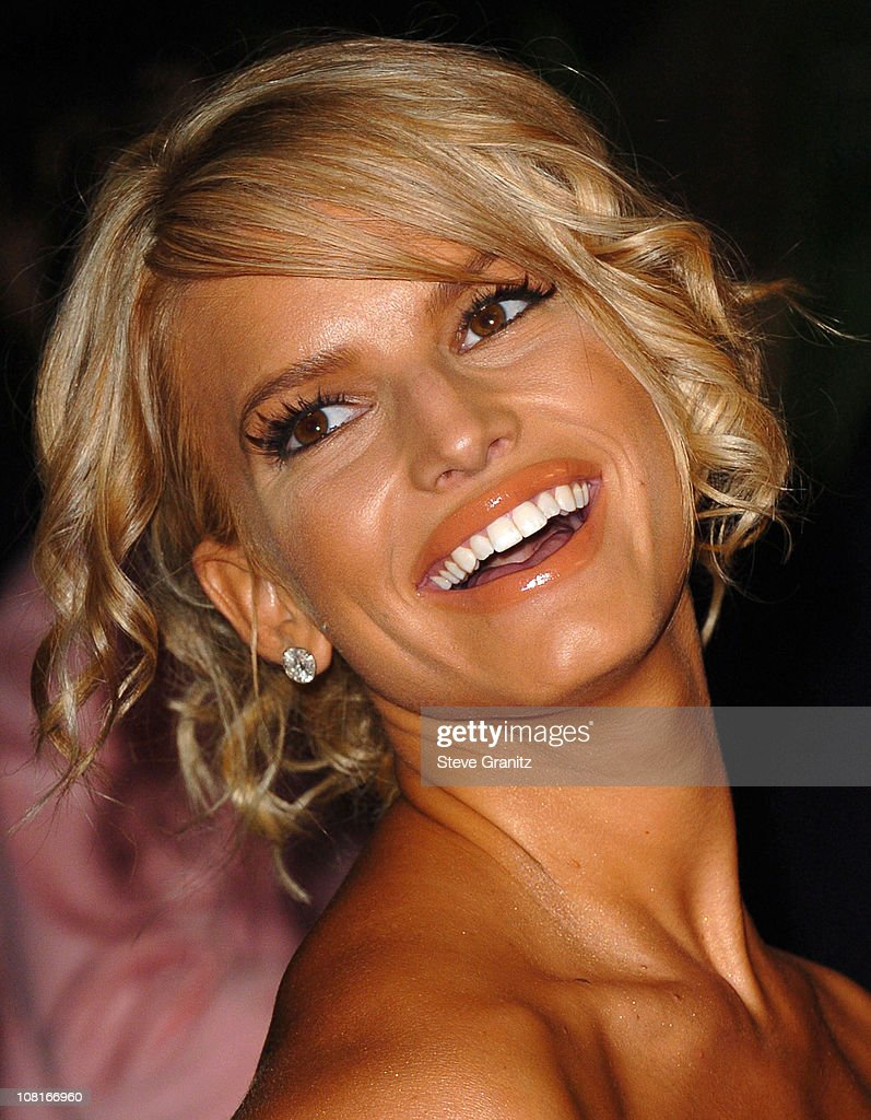 Jessica Simpson during Clive Davis' 2005 PreGRAMMY Awards Party Arrivals at Beverly Hills Hotel in Beverly Hills California United States