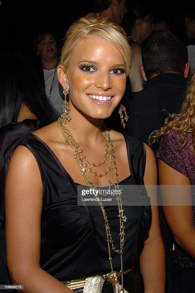 Jessica Simpson during Olympus Fashion Week Spring 2005 - Luca Luca - Front Row and Backstage at Theater Tent, Bryant Park in New York City, New York, United States.