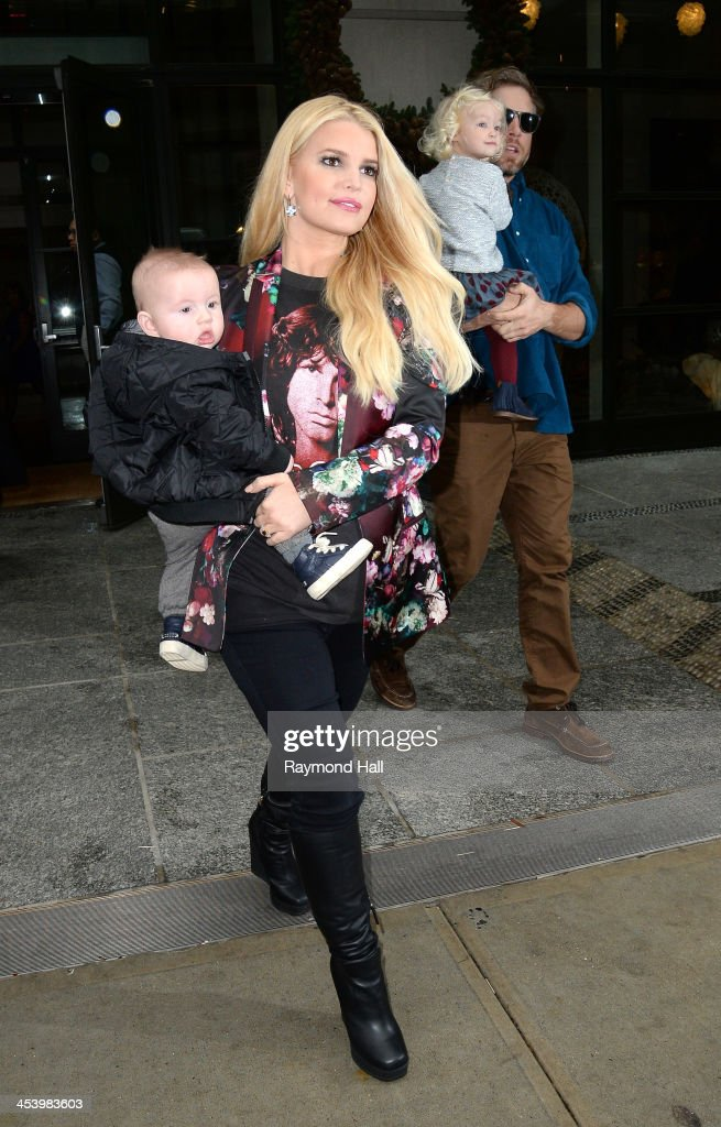 Jessica Simpson Eric Johnson Ace Knute Maxwell are seen in Soho on December 6 2013 in New York City