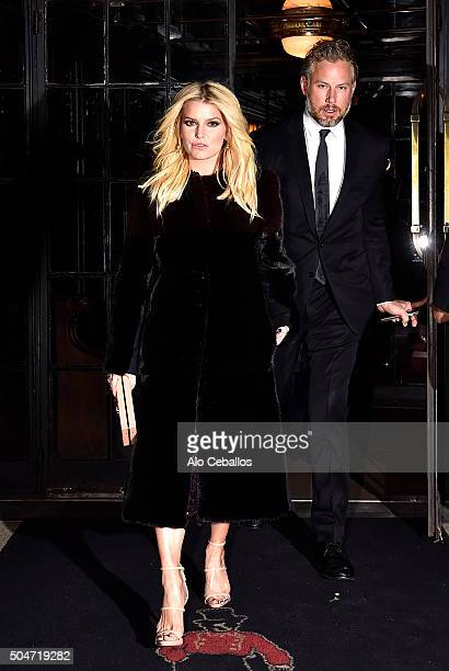 Jessica Simpson Eric Johnson are seen in the East Village on January 12 2016 in New York City