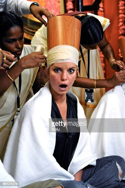 INDIA MARCH 19 Jessica Simpson is seen filming her new reality show 'The Price Of Beauty'on March 19 2010 in India