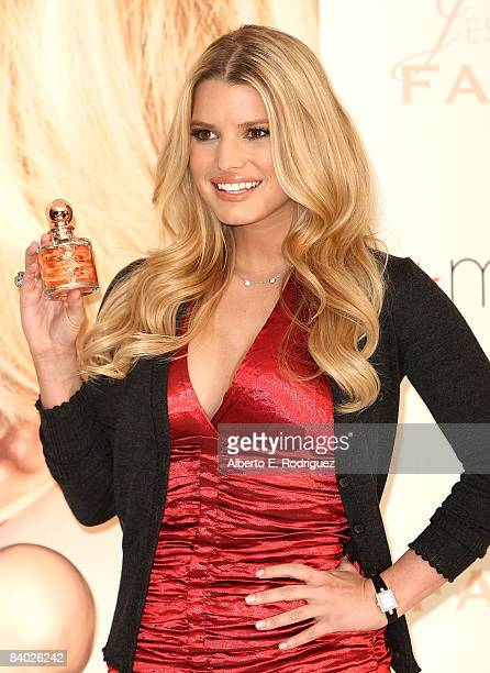 Jessica Simpson launches her new fragrance 'Fancy' at Macy's at the South Coast Plaza on December 13 2008 in Costa Mesa California