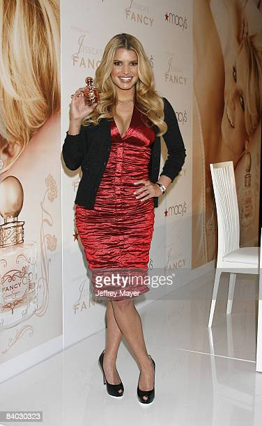 Jessica Simpson launches her new fragrance 'Fancy' at Macy's South Coast Plaza on December 13 2008 in Costa Mesa California