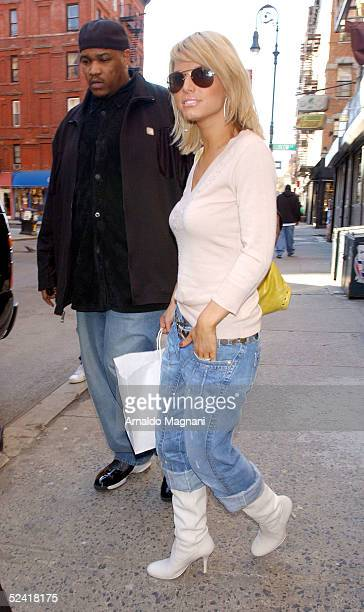 Jessica Simpson walks in the east village with her bodyguard March 14 2005 in New York City