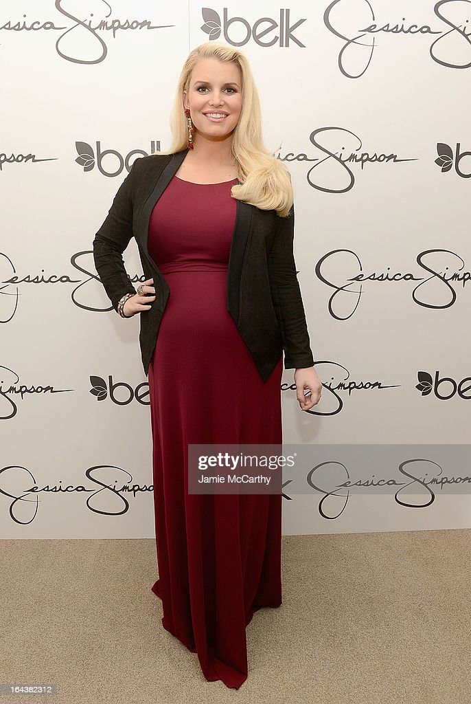 Jessica Simpson, wearing Jessica Simpson Maternity, visits Belk Southpark on March 23, 2013 in Charlotte, North Carolina.