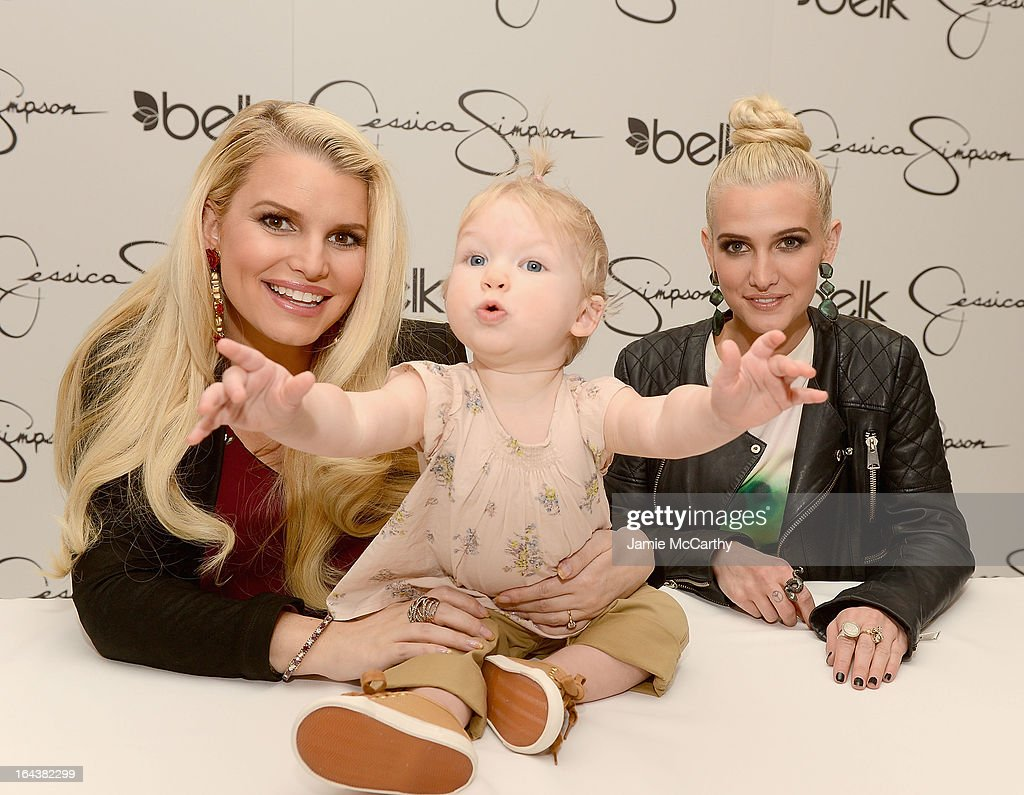 <a gi-track='captionPersonalityLinkClicked' href=/galleries/search?phrase=Jessica+Simpson&family=editorial&specificpeople=171513 ng-click='$event.stopPropagation()'>Jessica Simpson</a>, wearing <a gi-track='captionPersonalityLinkClicked' href=/galleries/search?phrase=Jessica+Simpson&family=editorial&specificpeople=171513 ng-click='$event.stopPropagation()'>Jessica Simpson</a> Maternity, with her daughter Maxwell Johnson and <a gi-track='captionPersonalityLinkClicked' href=/galleries/search?phrase=Ashlee+Simpson&family=editorial&specificpeople=201809 ng-click='$event.stopPropagation()'>Ashlee Simpson</a>, wearing a <a gi-track='captionPersonalityLinkClicked' href=/galleries/search?phrase=Jessica+Simpson&family=editorial&specificpeople=171513 ng-click='$event.stopPropagation()'>Jessica Simpson</a> dress, visit Belk Southpark on March 23, 2013 in Charlotte, North Carolina.