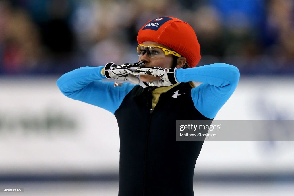 Jessica Smith celebrates after winning the second ladies 1,000 meter final during the U.S. Olympic Short Track Trials at the Utah Olympic Oval on January 5, 2014 in Salt Lake City, Utah.