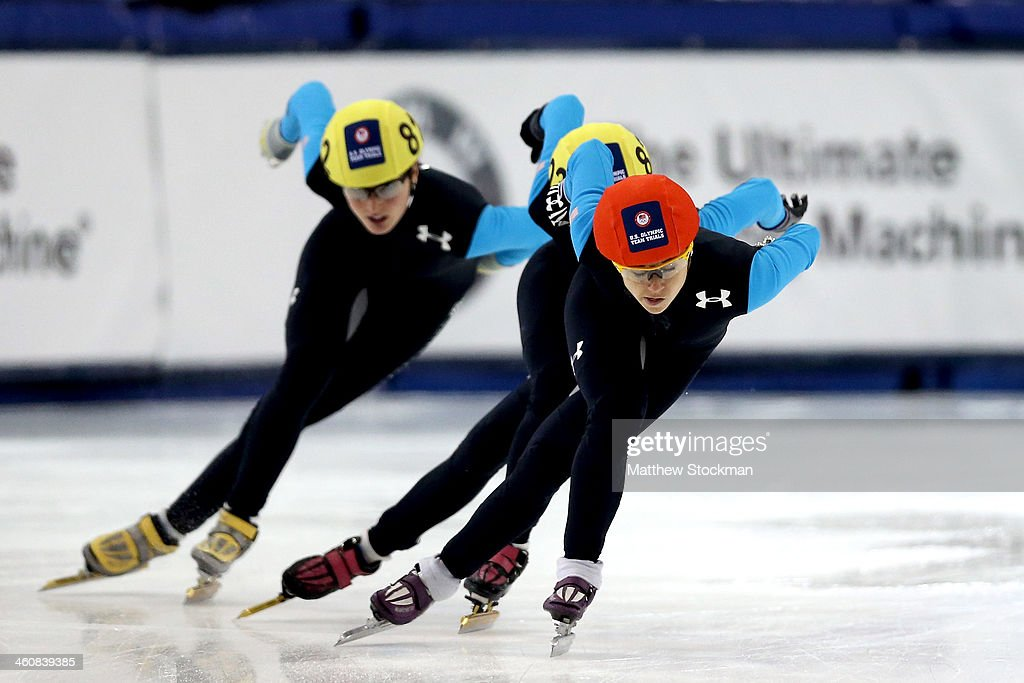 Jessica Smith #801 (red helmet) skates in the second ladies 1,000 meter final during the U.S. Olympic Short Track Trials at the Utah Olympic Oval on January 5, 2014 in Salt Lake City, Utah.